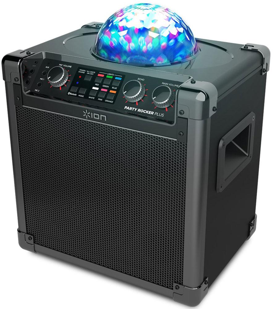 ION Audio Party Rocker Plus, Black портативная акустическая системаIONprpION Audio Party Rocker Plus - это все, что вам нужно, чтобы превратить скучный вечер в незабываемый праздник.Звук потрясающего качества - динамик диаметром 6 дюймов выдает мощность в 50-ватт. Данная модель принимает Bluetooth-сигнал от любых смартфонов и планшетов, работающих на Android и iOS, обладает серьезными многочасовыми аккумуляторами и потрясающими световыми эффектами.Особая гордость ION Audio Party Rocker Plus – цветомузыка. Можно выбрать любую комбинацию из шести цветов - красного, зеленого, синего, белого, розового или оранжевого; а также любой из пяти режимов. А входящий в комплект высококачественный микрофон и режим эхо делают эту акустическую систему незаменимым для любителей караоке.Тип динамиков: 1 tweeter, 6 wooferСветодиодный стробоскоп6 режимов светомузыкиПринимает Bluetooth сигнал от смартфонов и планшетов