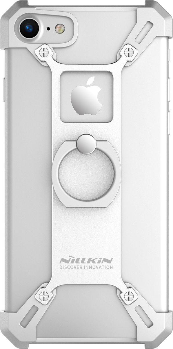 Nillkin Barde Metal Case чехол для Apple iPhone 7, Silver2000000124803Чехол надежно защищает ваш смартфон от внешних воздействий, грязи, пыли, брызг. Он также поможет при ударах и падениях, не позволив образоваться на корпусе царапинам и потертостям. Чехол обеспечивает свободный доступ ко всем функциональным кнопкам смартфона и камере.