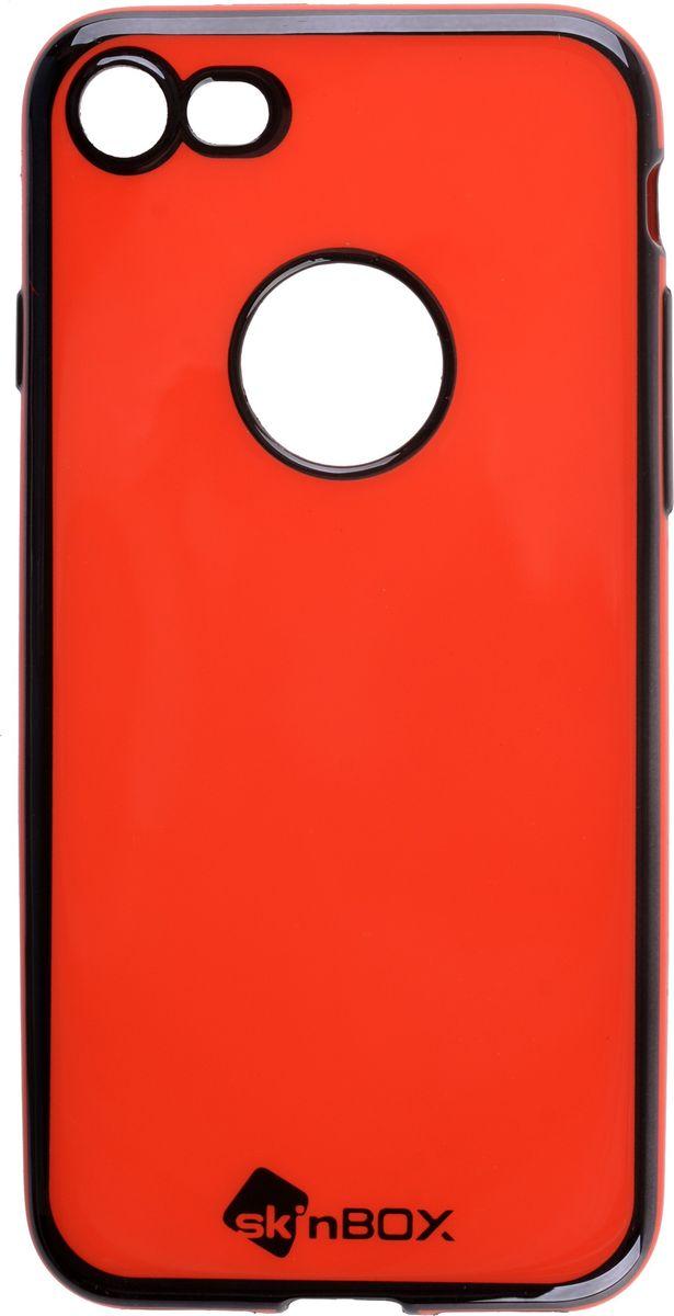 Skinbox Slim Silicone Color чехол для Apple iPhone 7, Red2000000132808Чехол надежно защищает ваш смартфон от внешних воздействий, грязи, пыли, брызг. Он также поможет при ударах и падениях, не позволив образоваться на корпусе царапинам и потертостям. Чехол обеспечивает свободный доступ ко всем функциональным кнопкам смартфона и камере.