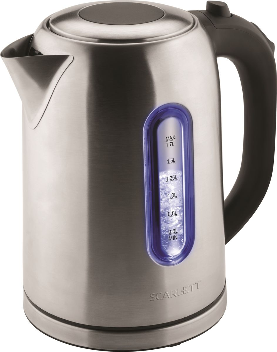 Scarlett SC-EK21S50, Stainless Steel чайник электрическийSC-EK21S50Чайник на подставке, 2200Вт, 1.7л, окно на корпусе, кнопка открытия крышки, внутренняя подсветка двух цветов