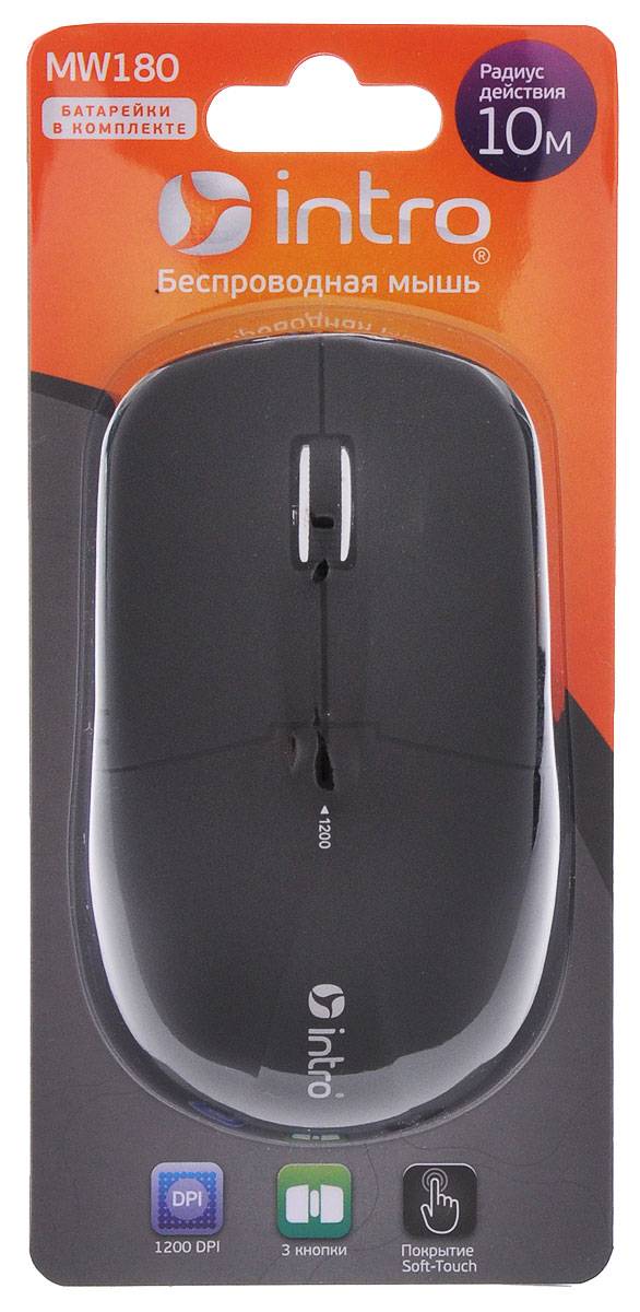 Intro MW180, Black мышь беспроводнаяMW180Беспроводная мышь Intro MW180 имеет Soft-Touch покрытие. Устройство может работать практически на любой поверхности. Оптический сенсор обеспечивает максимально точное позиционирование курсора. Благодаря симметричной форме эта мышка подходит как правшам, так и левшам. Не требует установки драйверов, просто подключите и начинайте работу.