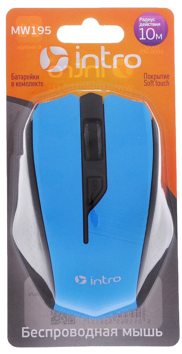 Intro MW195, Black Blue мышь беспроводнаяMW195 blueБеспроводная мышь Intro MW195 имеет Soft touch покрытие. Устройство может работать практически на любой поверхности. Оптический сенсор со сменным разрешением 1000/1600 dpi обеспечивает максимально точное позиционирование курсора. Эргономичная форма позволяет мыши удобно расположиться в руке. Не требует установки драйверов, просто подключите и начинайте работу. Боковые клавиши позволяют быстро перемещаться по страницам в браузере (назад и вперед).