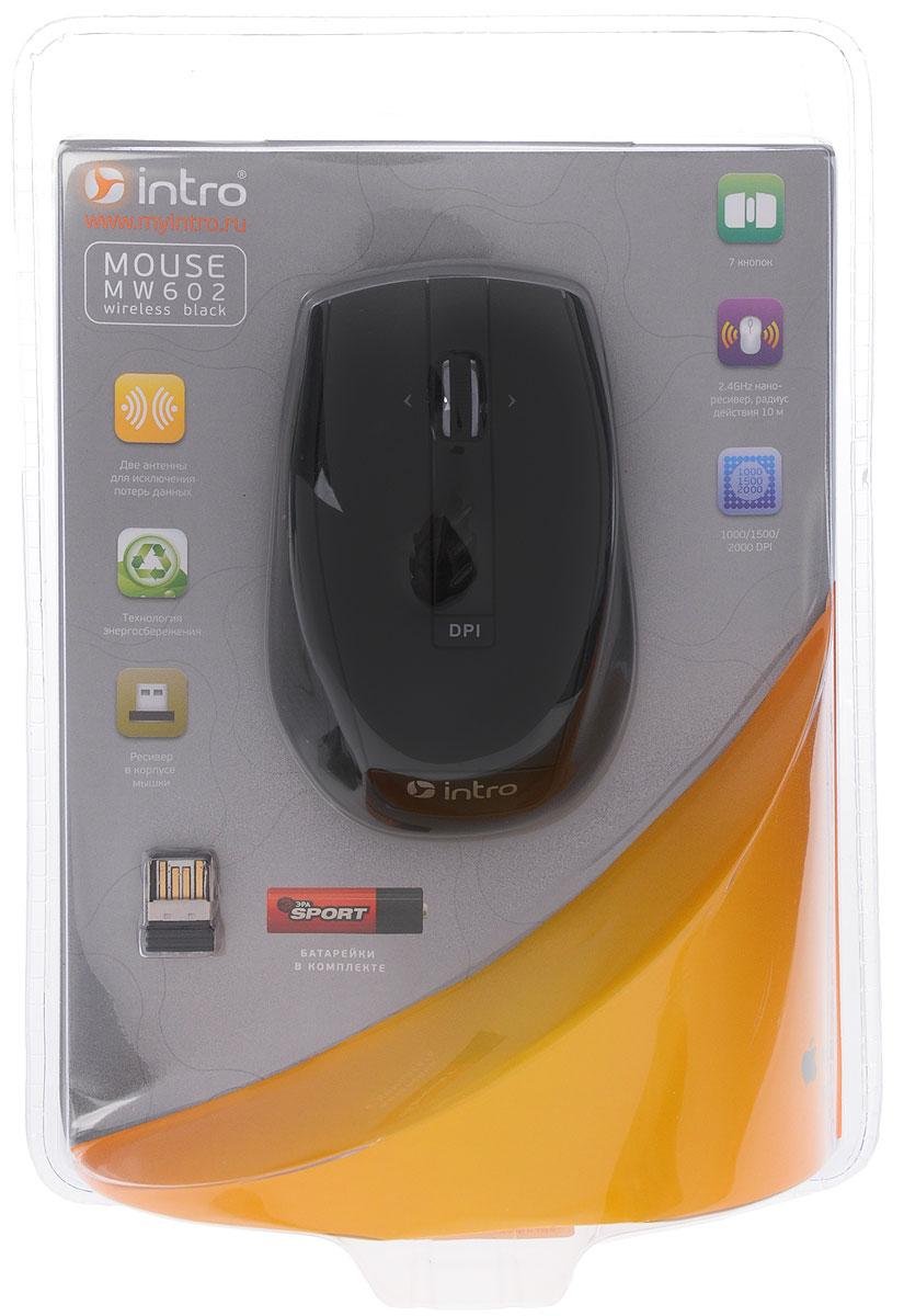 Intro MW602, Black мышь беспроводнаяMW602Intro MW602 — это технологичная мышь, основным преимуществом которой является уникальная энергосберегающая технология. Кроме того, мышь способна к работе в интеллектуальном режиме определяя касание руки для моментального выхода из режима сна. Устройство может работать практически на любой поверхности. Оптический сенсор со сменным разрешением 1000/1500/2000 dpi обеспечивает максимально точное позиционирование курсора. Эргономичная форма позволяет мыши удобно расположиться в руке. Не требует установки драйверов, просто подключите и начинайте работу.