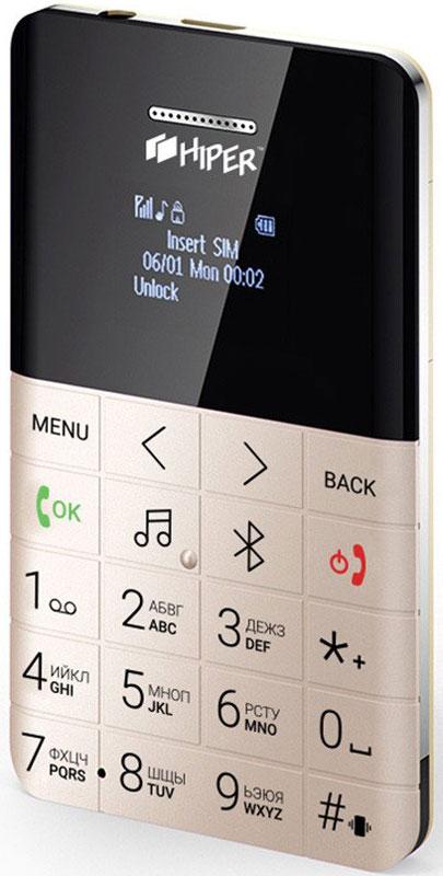 HIPER sPhone One, Gold мобильный телефон (MP-01GLD)MP-01GLDHIPER sPhone One - компактный мобильный телефон с различными дополнительными возможностями.Данная модель оснащена цветным LCD OLED 0.96-дюймовым экраном. Имеет аккумулятор 280 мАч. Максимальная продолжительность работы устройства в режиме ожидания - 72 часов. При разговоре батареи хватает на 5 часов.Телефон оснащен FM-радио, поэтому вы можете прослушивать любимые радиостанции там, где вы находитесь.Синхронизация контактов со смартфономФункция Удалённой камерыAnti-Lost