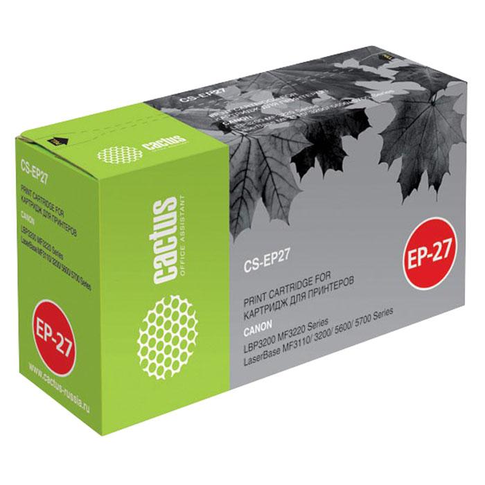 Cactus CS-EP27, Black тонер-картридж для Canon LBP3200/MF3220/MF3110/3200/5600/5700CS-EP27SКартридж Cactus CS-EP27 для лазерных принтеров Canon.Расходные материалы Cactus для лазерной печати максимизируют характеристики принтера. Обеспечивают повышенную чёткость чёрного текста и плавность переходов оттенков серого цвета и полутонов, позволяют отображать мельчайшие детали изображения. Обеспечивают надежное качество печати.