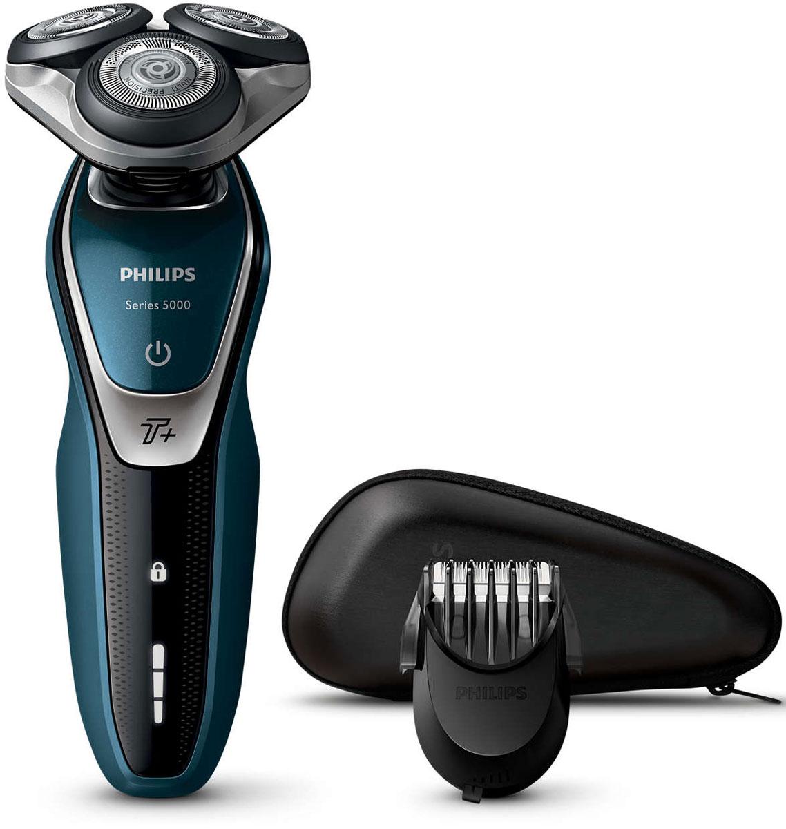Philips S5672/41, Blue Black электробритваS5672/41Бритва Philips S5550/44 обеспечивает освежающее бритье и защищает кожу.Система лезвий MultiPrecision с закругленными краями бритвенных головок легко скользит по коже для бережного и безопасного бритья.Уплотнение Aquatec позволяет выбирать наиболее комфортный способ бритья: быстрое и комфортное сухое бритье или влажное бритье с использованием геля или пены. Вы можете использовать прибор даже в душе.Мощность увеличена на 20 % для более быстрого бритья даже густой бороды.Быстрое и гладкое бритье. Система лезвий MultiPrecision в несколько движений приподнимает и срезает волоски и щетину.Головки Flex двигаются независимо друг от друга в 5 направлениях. Это гарантирует оптимальный контакт с кожей для быстрого и гладкого бритья даже на шее и подбородке.На интуитивно понятном дисплее отображается вся необходимая информация, что позволяет в полной мере использовать все возможности вашей бритвы: трехуровневый индикатор аккумулятора, индикатор очистки, индикатор низкого заряда аккумулятора, индикатор сменной головки, индикатор дорожной блокировки.Один цикл зарядки обеспечивает от 60 минут автономной работы или примерно 20 сеансов бритья. Бритва работает только в беспроводном режиме.Мощный энергоэффективный и долговечный литий-ионный аккумулятор обеспечивает долгое время работы бритвы после каждой зарядки. Быстрой зарядки в течение 5 минут хватает для проведения одного сеанса бритья.Насадка-стайлер для бороды с 5 установками длиныИзмените свой образ с помощью насадки-стайлера SmartClick для бороды. 5 установок длины на выбор подходят для создания идеальной щетины или моделирования аккуратной короткой бороды. Закругленные кончики и гребни предотвращают появление раздражения.