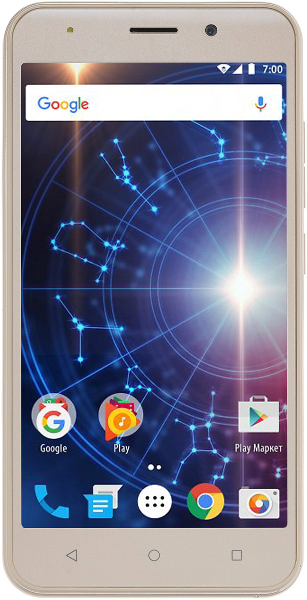 Vertex Impress Luck 3G, GoldLCK-GLDСмартфон Vertex Impress Luck 3G – доступный и функциональный 3G смартфон в стильном корпусе.Корпус смартфона Impress Luck выполнен из высококачественного пластика и надежных комплектующих. Задняя панель корпуса имеет матовое покрытие soft touch, благодаря чему смартфон эргономичен, приятен на ощупь, не скользит в руке. Яркий IPS дисплей дополняет стильный образ смартфона и позволяет максимально комфортно использовать возможности модели: просмотр сериалов и фильмов, фотографий, видео, чтение книг, общение с друзьями. Гармоничный корпус, продуманный до мелочей, доставляет владельцу эстетическое удовольствие при использовании смартфона.Смартфон оснащен 4-х ядерным процессором, благодаря чему Impress Luck отлично подходит для решения различных повседневных задач. Мощность процессора обеспечивает бесперебойную и качественную работу операционной системы и установленных приложений. Смартфон имеет 1 ГБ оперативной памяти и 8 ГБ встроенной, что позволяет использовать стандартные функции максимально эффективно: Интернет, игры, приложения, фото и видео съемка, электронные книги и прочие дополнительные smart-функции. Для повышения работоспособности смартфона и увеличения объема памяти можно использовать microSD карты емкостью до 32 ГБ.Операционная система Android 6.0 Marshmallow и сервис Google Play предлагает огромный выбор приложений на любой вкус. Игры, музыка, социальные сети, навигационные карты, фото приложения и многое другое.Наличие двух камер 5 МП и 2 МП дает возможность делать фото, снимать видео, совершать видеозвонки, общаться в Skype и т.д. Дополнительные преимущества основной камеры: светодиодная вспышка. Для того, чтобы вы смогли всегда оставаться на связи модель Impress Luck поддерживает работу двух SIM-карт, активных в режиме ожидания. Благодаря этому можно использовать возможности сразу двух операторов связи так, как удобно вам.Телефон сертифицирован EAC и имеет русифицированный интерфейс меню и Руководство пользователя.