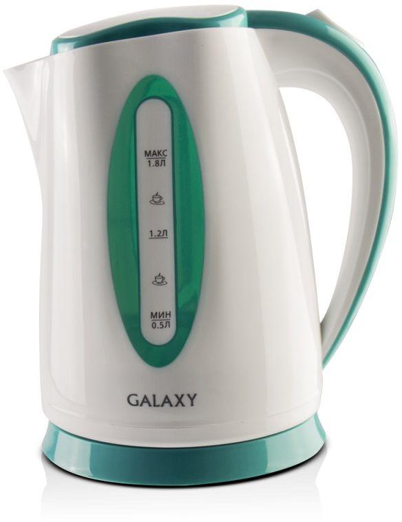 Galaxy GL 0219, White Green чайник электрический4630003367679Характеристики:Мощность, Вт: 2200.Объем, л: 1,8.Скрытый нагревательный элемент.Съемный фильтр.Автоотключение при закипании.Автоотключение при отсутствии воды.Шкала уровня воды.Индикатор работы.Напряжение сети, В: 220-240.Частота, Гц: 50.