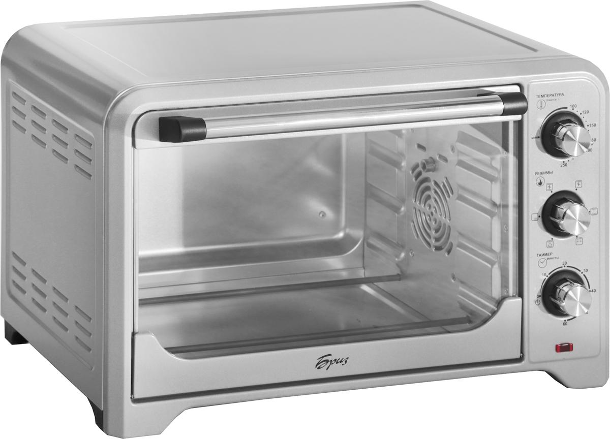 Бриз ЕН-35 жарочный шкаф, цвет серыйБриз ЕН-35Мини-печь Бриз ЕН-35Е станет отличным дополнением к набору бытовой техники для кухни. Удобная и компактная — она будет прекрасной альтернативой громоздким кухонным плитам.Простое понятное управлениеРабота устройства регулируется поворотными переключателями.2 нагревательных элементаВерхний и нижний нагревательные элементы могут работать как по отдельности, так и одновременно. Верхний нагревательный элемент для создания аппетитной корочки. Нижний подойдет для выпечки.КонвекцияПозволяет достичь равномерного выпекания и приготовления блюд.Большая вместительность печи (35 л) позволяет готовить больший объем пищи.Таймер дает возможность контролировать время приготовления.