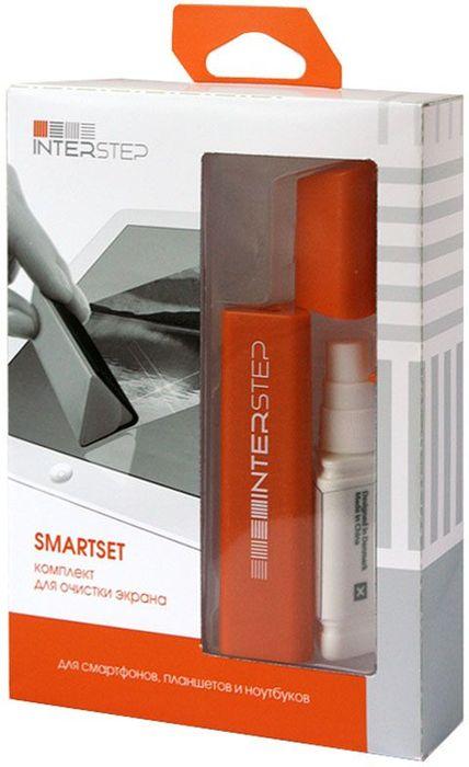 Interstep SmartSet, Orange чистящий набор для экранов32595Компактный набор для чистки экрана в моно корпусе. удобное хранения в настольном органайзере или при транспортировке. Включает: антибактериальная и антистатическая жидкость + щетка с микрофиброй с антибактериальной обработкой. Перезаправляемый спрей.