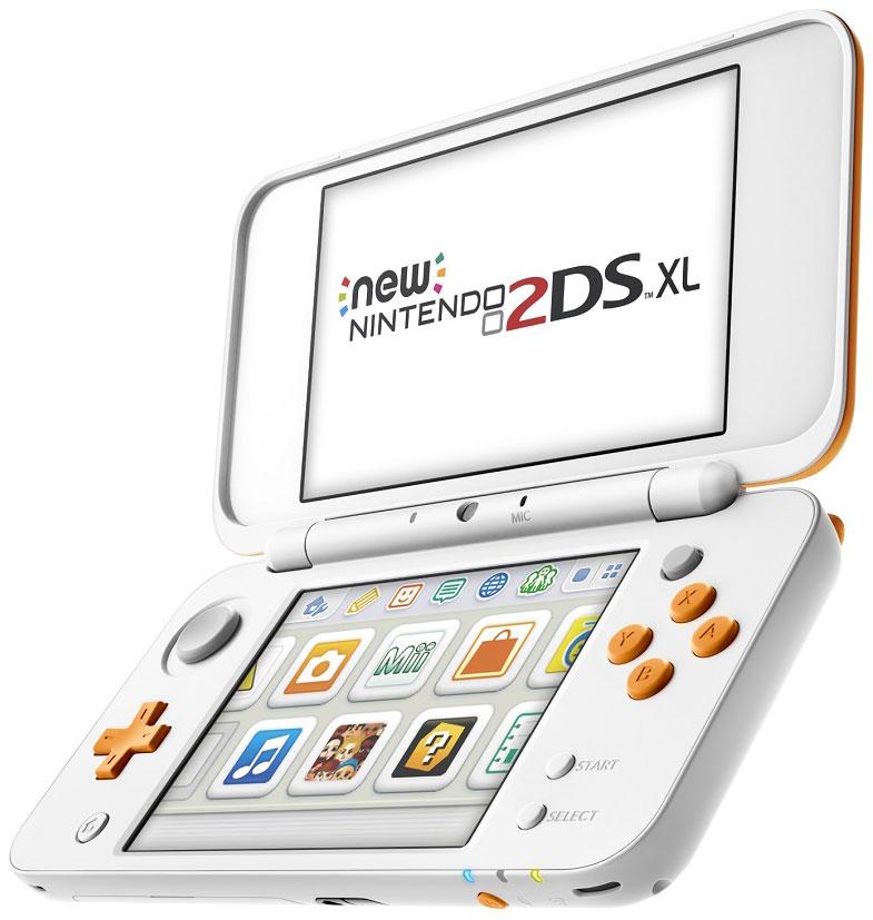 New Nintendo 2DS XL, White Orange портативная игровая приставка045496504564New Nintendo 2DS XL (белый + оранжевый)Встречайте пополнение в семействе Nintendo 3DS – игровую консоль New Nintendo 2DS XL, которая воспроизводит все игры для Nintendo 3DS в 2D. Вас ждет совершенно новая Nintendo 2DS с большим экраном в 4,88 дюйма, которая весит всего 260 грамм.Система обладает такой же вычислительной мощностью, как New Nintendo 3DS XL, и встроенной поддержкой NFC для фигурок и карт amiibo (продаются отдельно). Кроме того, система New Nintendo 2DS XL оборудована стиком C, а также кнопками ZL и ZR, расширяя возможности управления в совместимых играх. Вы сможете играть в 2D во все игры, вышедшие для Nintendo 3DS, New Nintendo 3DS и Nintendo DS.Особенности:Больше вариантов управленияСистема New Nintendo 2DS XL оборудована стиком C, а также кнопками ZL и ZR, расширяя возможности управления в совместимых играх. Стик C улучшает чувствительность управления, реагируя на силу нажатия.Поддержка amiiboОбласть NFC находится на нижнем дисплее. Если вы поставите на него amiibo (продаются отдельно) в совместимых играх, то сможете считывать и записывать данные на amiibo, чтобы расширить игровой процесс!Богатая библиотека игрНа системе New Nintendo 2DS XL можно играть во все игры для Nintendo 3DS и Nintendo DS в режиме 2D, включая игры для New Nintendo 3DS, например, игры Super Nintendo для Виртуальной консоли.Увеличенная вычислительная мощность.Наслаждайтесь повышенной производительностью, которая обеспечивает быструю загрузку файлов и быстрый запуск игр.Расширяемая памятьВы можете легко увеличить память системы с помощью карт microSD, так что у вас всегда будет достаточно места для хранения загружаемых игр.