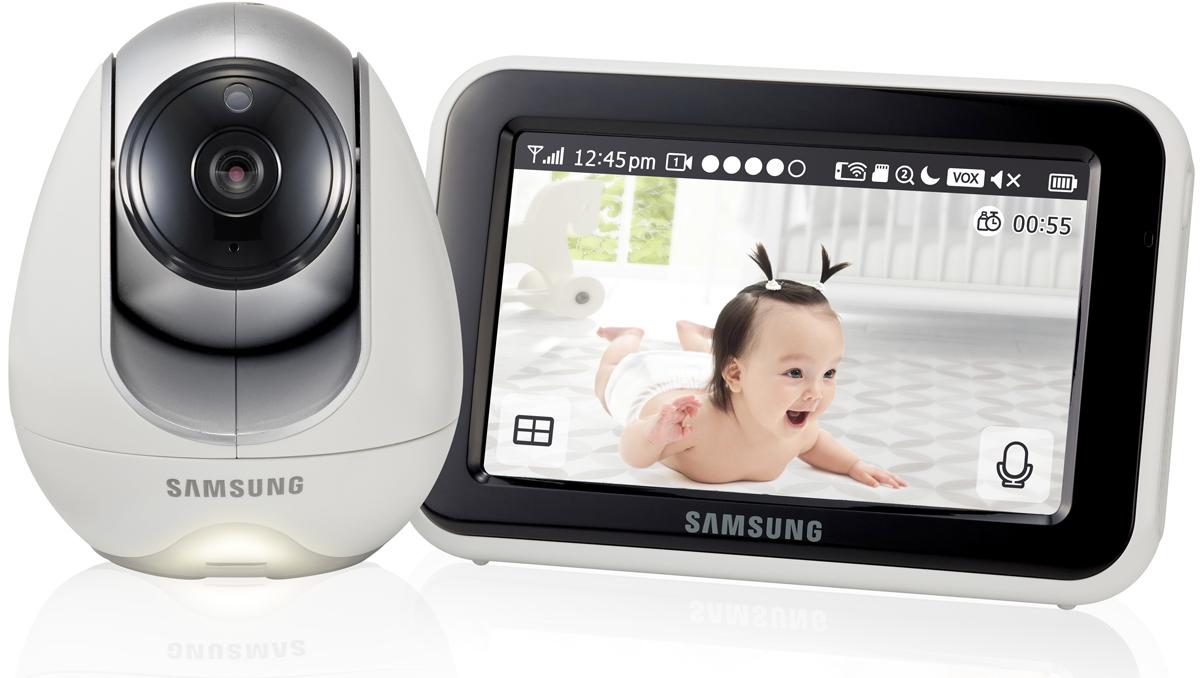 Поворотная Wi-Fi видеоняня, разрешение камеры 1280x720, 2.4 GHz, 1/4 Color CMOS Image Sensor, горизонтальный угол обзора 55°, встроенная ИК-подсветка 5 м., поворот 300°/наклон 110°. Сенсорный монитор 12,7 см (5 дюймов) LCD, поддержка SD карт, встроенный микрофон, динамик. Удаленный доступ через интернет, бесплатное приложение Baby View для Android и iOS.