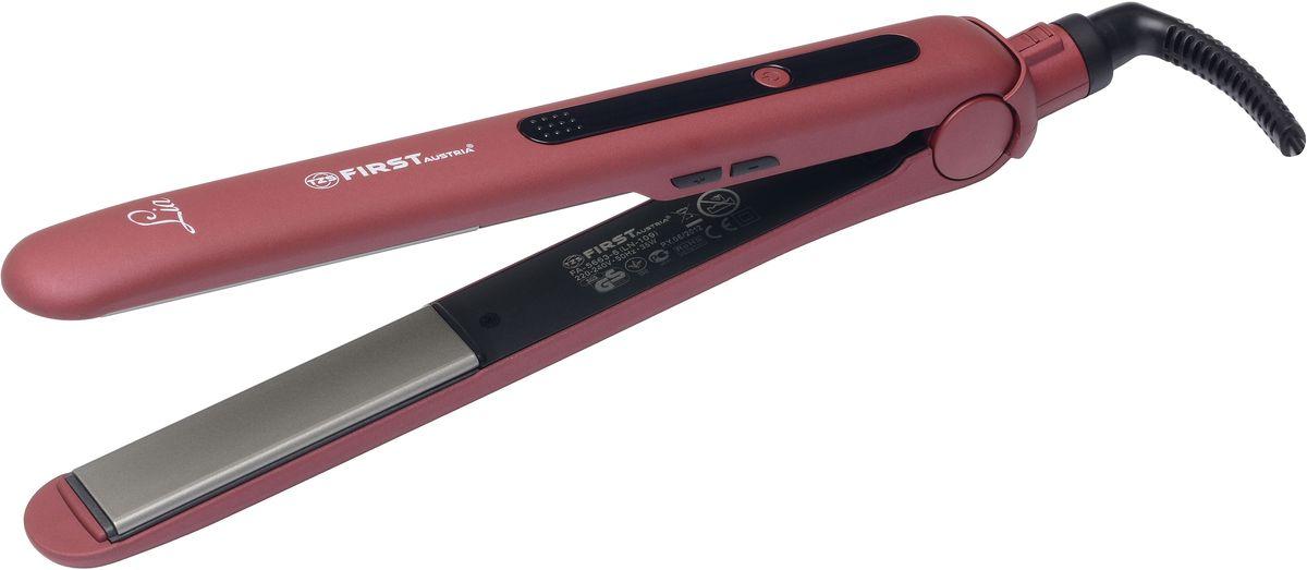 FA-5663-6, Red выпрямитель для волосFA-5663-6 RedВыпрямитель FIRST 5663-6 , 35 Вт, плавщ.турмал.24x90 мм, ЖК-диспл., автооткл, Red