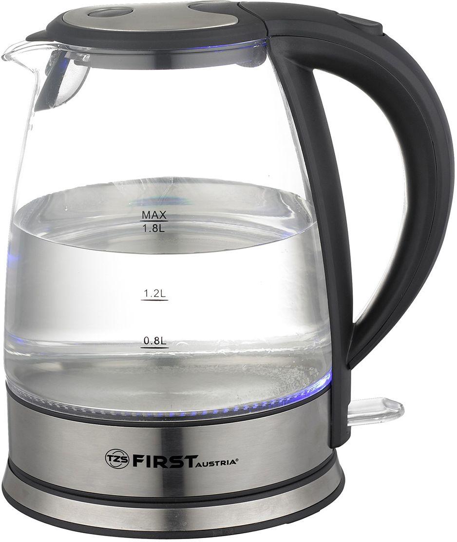 First FA-5406-9, Black чайник электрическийFA-5406-9 BlackFirst FA-5406-9 - электрический чайник мощностью 2200 Вт в корпусе из экологического термостойкого стекла декорированным стальными элементами. Прибор оснащен скрытым нагревательным элементом и позволяет вскипятить до 1,7 л воды. Беспроводное соединение позволяет вращать чайник на подставке на 360°.Данная модель оборудована внутренней подсветкой корпуса, фильтром для воды и шкалой уровня воды, а также кнопкой плавного (мягкого) открытия крышки. Для обеспечения безопасности при повседневном использовании предусмотрены функции: автовыключение при закипании воды и отключение при отсутствии воды. У чайника имеется место для хранения шнура.