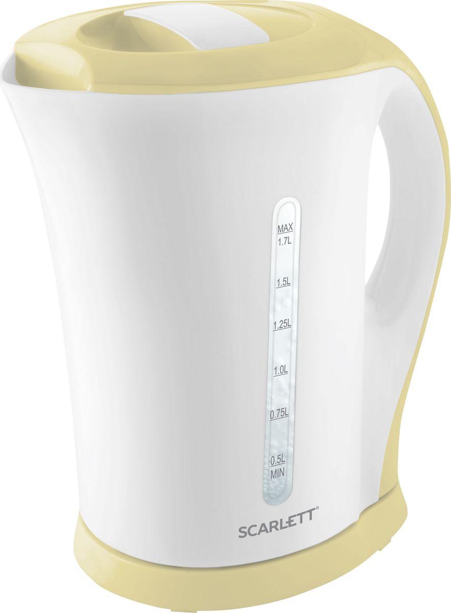 Scarlett SC-EK14E07, White Yellow электрический чайникSC-EK14E07Чайник на подставке, 1850 - 2200 Вт, 1,7л, ручка открытия крышки
