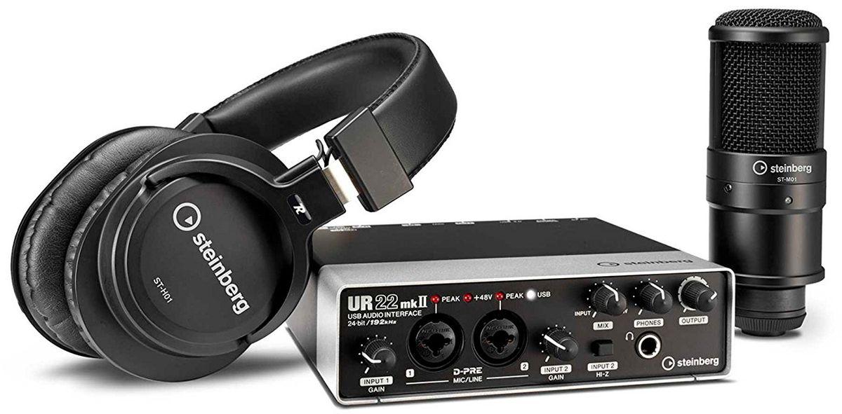 Steinberg UR22 mkII Recording Pack, Black аудиоинтерфейсMCI54687Комплект состоящий из USB-интерфейса UR22 mkII, полноразмерных динамических наушников ST-H01 и конденсаторного микрофона ST-M01. ПО Cubase AI, WaveLab LE и Cubasis LE.