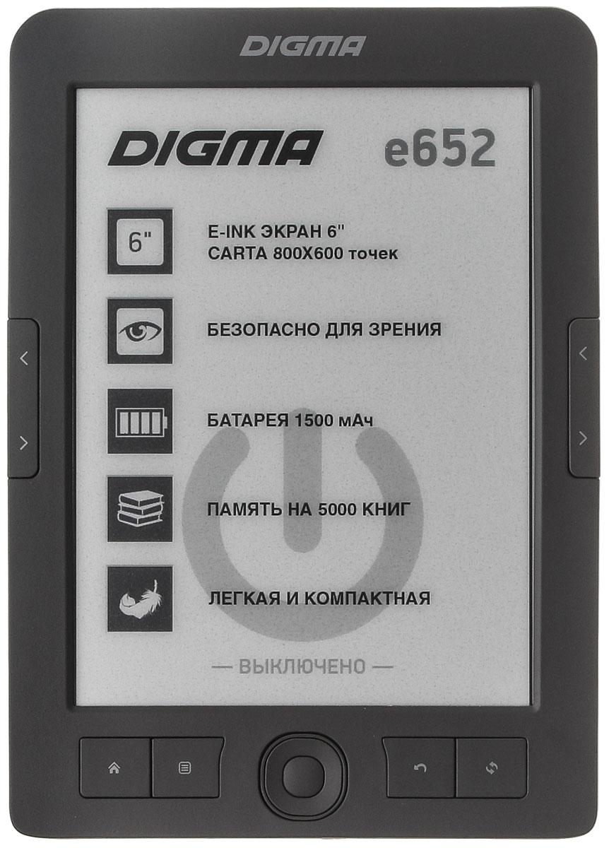 Digma E652, Gray электронная книгаE652GYЭлектронная книга Digma E652 сочетает в себе ключевые функции, необходимые для комфортного чтения. Книга обладает отличными характеристиками экрана, созданного на основе новой технологии E-Ink CARTA, стабильным процессором 600 МГц, ёмким аккумулятором 1500 мАч и слотом для карт microSD.В чем отличие новой технологии E-Ink CARTA с точки зрения восприятия текста читателем? Повышенная контрастность позволяет приблизить тон фона экрана к белому цвету, при этом очертания букв становятся четче, что обеспечивает более комфортное чтение на протяжении долгого времени без дополнительной подсветки. То есть, по сути, перед вами книга с более качественной бумагой и печатью на ней.Digma E652 поддерживает все самые популярные форматы файлов для чтения, а также четыре формата файлов изображения. Навигация по меню, а также перелистывание страниц осуществляются с помощью кольца навигации и механических кнопок, вынесенных на лицевую сторону устройства.
