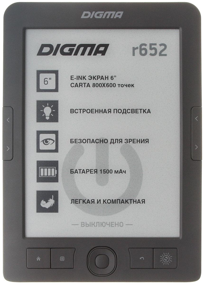 Digma R652, Gray электронная книгаR652GYЭлектронная книга Digma R652 станет отличным попутчиком и поможет интересно провести время в дороге. С таким компактным и легким устройством вы сможете читать в любом месте, когда захотите.Представленная модель обладает шестидюймовым экраном с разрешением 800х600, которое является достаточно высоким, чтобы обеспечить вам высокую четкость изображения.Digma R652 без труда воспроизводит 13 текстовых форматов, а также архивы, и графические файлы. Предусмотренные производителем 16 градаций серого цвета помогут настроить устройство таким образом, чтобы оно было максимально комфортным для ваших глаз.