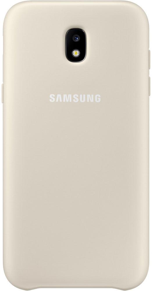 Samsung Dual Layer Cover чехол для Galaxy J5 (2017), GoldEF-PJ530CFEGRUЧехол Samsung Dual Layer Cover изготовлен из эластичного полиуретана. Он защищает смартфон от воды, пыли и грязи, а также поглощает ударные нагрузки, предотвращая повреждение чувствительной электроники.Аксессуар слегка выступает над поверхностью дисплея, не допуская его соприкосновения с твёрдыми предметами. Благодаря этому экран всегда остаётся гладким и чистым, сохраняя отличную видимость изображения.Пользователь в любой момент может сделать снимок, подзарядить аккумулятор или совершить звонок. В поверхности чехла предусмотрены специальные вырезы для камеры, кнопок и других функциональных элементов.