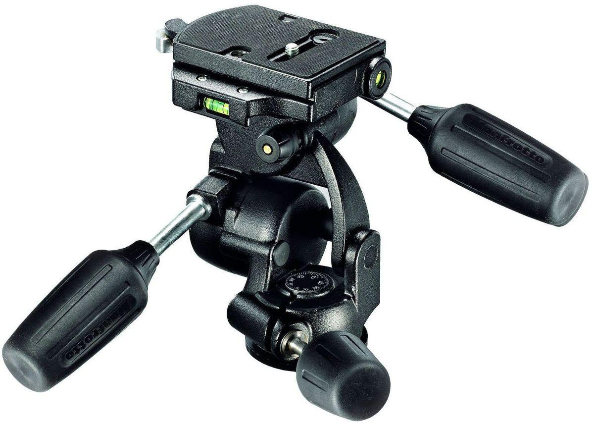 Manfrotto 808RC4, Black штативная головка808RC4Появление головки 808RC4 обновило наш ассортимент трехплоскостных головок, добавив новые элементы и одновременно сохранив полюбившиеся вам функции. Две уравновешивающих пружины обеспечивают фронтальный (вперед-назад) и боковой (влево-вправо) наклоны камеры. Эти пружины помогают вам удобно управлять тяжелыми камерами (например, с длинными объективами), прилагая минимальные усилия. Если вам необходима обычная работа головки, обе пружины можно отключить. Головка изготовлена из алюминия и способна выдерживать нагрузку до 8 кг, будучи при этом достаточно легкой и компактной, чтобы поместиться в любой кофр. Используется стандартная быстросъемная система с двумя пузырьковыми уровнями, позволяющая ставить крупные площадки для камер и точно выравнивать их.