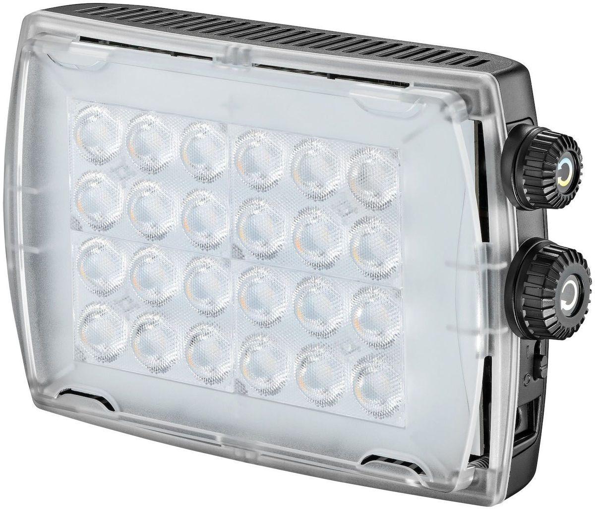 Manfrotto MLCROMA2, Black свет для фотостудииMLCROMA2Портативный гибридный светодиодный прибор нового поколения. Диммерная регулировка цветовой температуры 3100-5600 К, освещенность 900 люкс на расстоянии 1 м, регулировка степени освещенности 0-100%. Благодаря отличной цветопередаче (CRI> 93), прибор позволяет с высокой точностью воспроизвести цвета и оттенки. В приборе предусмотрено три вида питания: от шести АА батареек, от сети (адаптер в комплекте) или от аккумулятора (адаптер в комплекте). Комплектуется диффузным фильтром и поворотным кронштейном для установки.