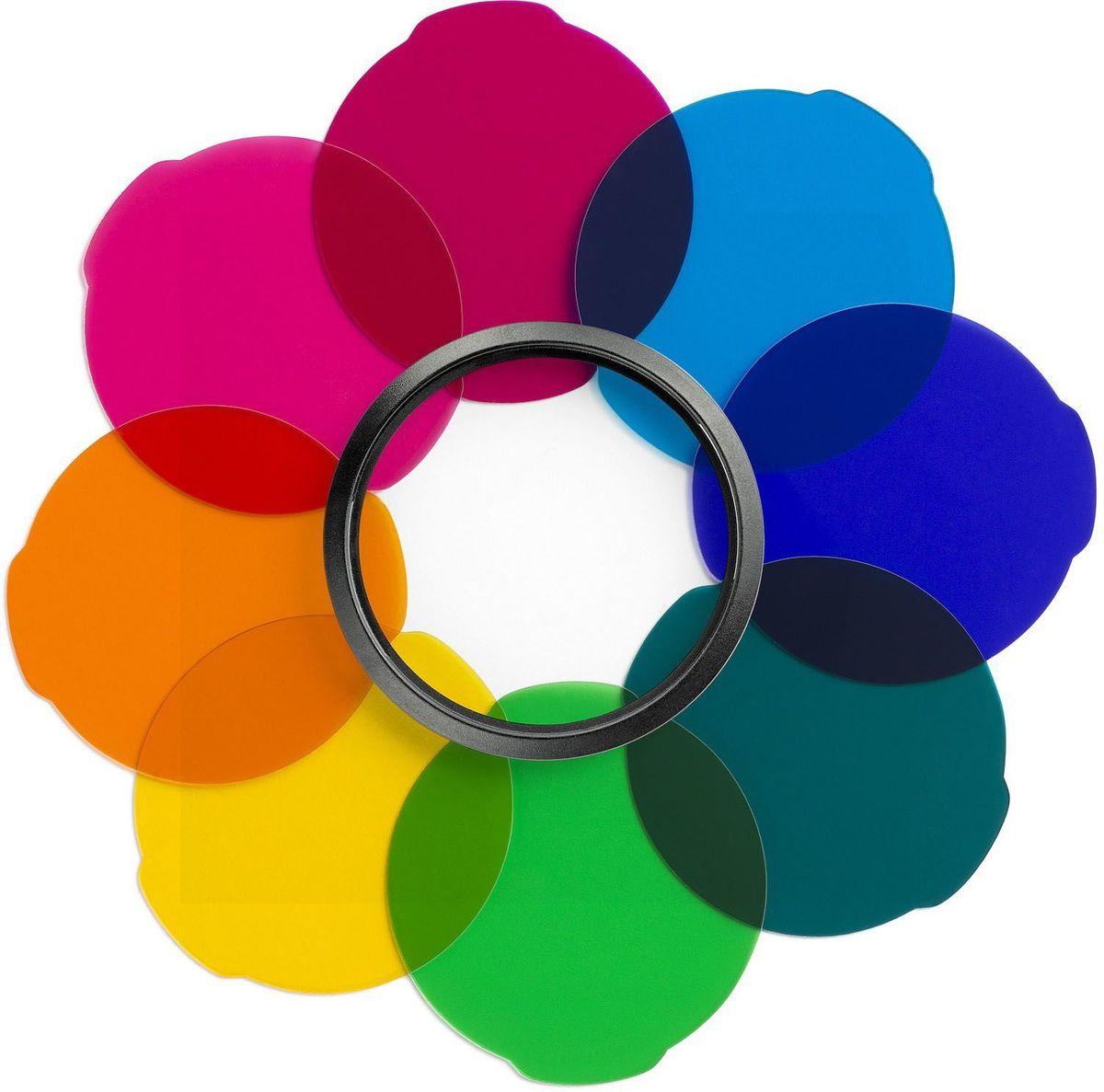 Manfrotto MLFILTERCOL, Black светофильтрMLFILTERCOLНабор фильтров Multicolour серии LUMIE разработан, чтобы дополнить универсальность и удобство в использовании светильников LUMIE Muse и LUMIE Art. Набор Multicolour, состоящий из 8ми цветных фильтров, призван помочь вам в создании уникальных и интересных фото и видео.В набор входят следующие фильтры:• Темно Синий• Темно Фиолетовый• Светло Синий• Розовый• Фуксия• Оранжевый• Желтый• Зеленый