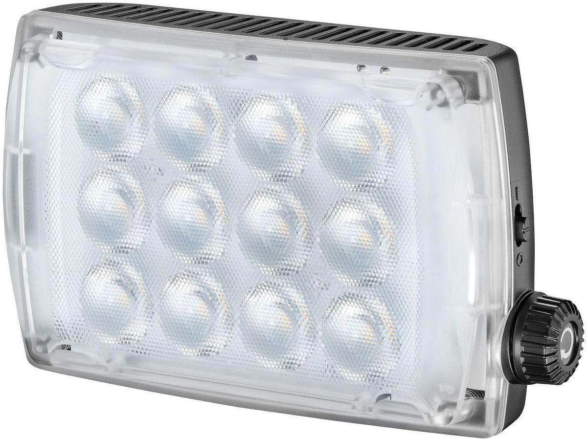 Manfrotto MLSPECTRA2, Black свет для фотостудииMLSPECTRA2Портативный светодиодный прибор нового поколения. Стабильная цветовая температура 5600 К, освещенность 650 люкс на расстоянии 1 м, диммерная регулировка степени освещенности 0-100%. Благодаря отличной цветопередаче (CRI> 93), прибор позволяет с высокой точностью воспроизвести цвета и оттенки. В приборе предусмотрено три вида питания: от шести АА батареек, от сети или от аккумулятора (все элементы приобретаются дополнительно). Комплектуется диффузным и коррекционным фильтром и поворотным кронштейном для установки.
