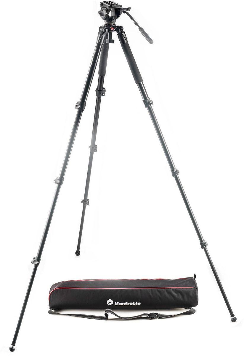 """Manfrotto MVK500AQ, Black штативMVK500AQЛегкий жидкостный видеокомплект MVK500AM включает жидкостную видеоголовку (с полусферой 60 мм) MVH500A и видеоштатив со сдвоенными ногами MVT502AM (алюминиевый, со средней распоркой).MVH500A — это легкая головка с расширенной платформой для камер типа HDSLR. Она имеет скользящую площадку, которая помогает сбалансировать новейшие камеры со сменными объективами. Головка начального уровня серии 500 гарантирует плавность съемки и точное управление оборудованием весом до 5 кг.Это самая компактная головка в нашем популярном ассортименте Bridging Technology™.MVH500A оснащается полусферой диаметром 60 мм для установки на штатив и заменяет видеоголовку Manfrotto 701HDV.Превосходная плавность съемки: головка 500 оснащается профессиональными гидравлическими цилиндрами по осям панорамирования и уклона, гарантирующими плавность, управляемость и точность каждого движения камеры.Быстрее, проще и безопаснее в использовании: боковой фиксатор позволяет камере со скользящей быстросъемной площадкой быстро прищелкиваться к головке сверху, вместо необходимости выравнивания и вдвигания сзади. Вспомогательный фиксатор не требуется. Система бокового фиксатора также позволяет быстрее и проще поднять и снять камеру с головки.Головка 500 оснащается предустановленным уравновешивателем нагрузки 2,4 кг, но способна держать оборудование весом до 5 кг. Головка 500 имеет один коннектор Easy Link 3/8"""", позволяющий присоединить внешний монитор или другое дополнительное оборудование. Штатив MVT502AM — традиционный двухуровневый видеоштатив со сдвоенными алюминиевыми ногами. Телескопические алюминиевые ноги обеспечивают компактность и малый вес. Трубы инновационного эллиптического профиля и модернизированные запорные кольца придают ему отличную жесткость и устойчивость. Средняя распорка отличается улучшенной эргономикой и проста в использовании, а резиновые ножки обеспечивают отличное сцепление с любыми искусственными и естественными поверхностями. Резиновый ремен"""