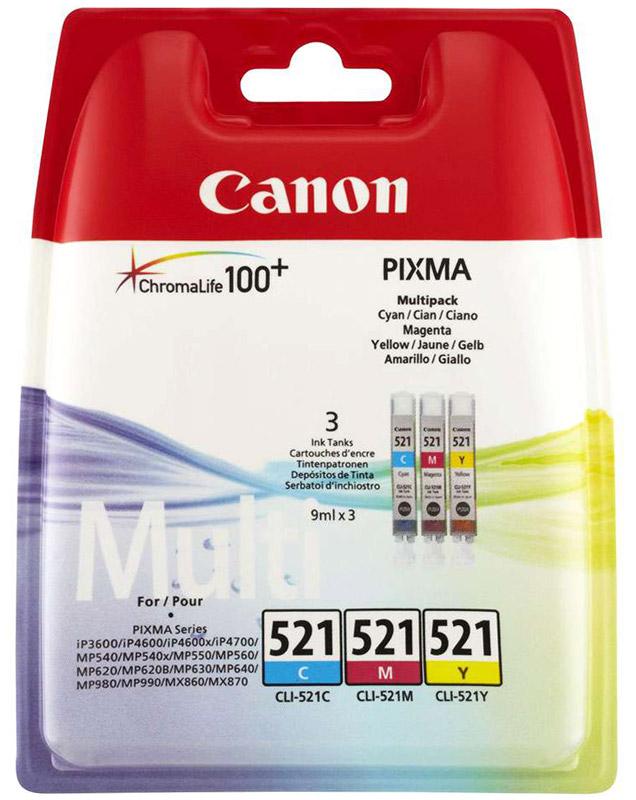 Canon CLI-521 Multipack набор цветных струйных картриджей для Pixma Series2934B010Набор цветных картриджей Canon CLI-521 Multipack (C/M/Y) для принтеров Pixma Series.