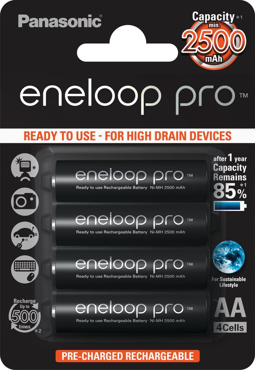 Аккумулятор Panasonic Eneloop R6 AA Pro Ni-MH 2500 мАч, 4 шт - Батарейки и аккумуляторы