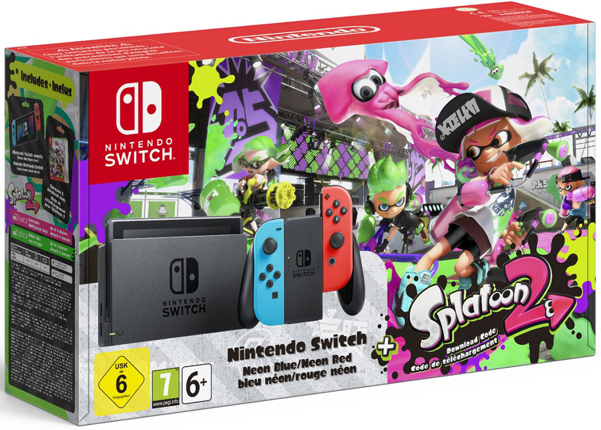 Игровая приставка Nintendo Switch, Neon Red Blue + Splatoon 2