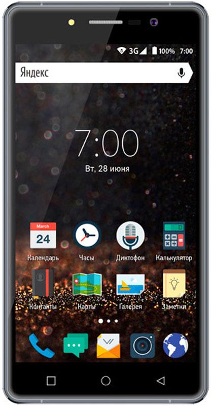 Vertex Impress Novo, GraphiteVRX-NOVO-GRVertex Impress Novo - стильный 3G смартфон в тонком корпусе с экраном 5 дюймов.В основе дизайна смартфона Impress Novo - лаконичность и элегантность. Корпус выполнен из высококачественного пластика и защищен металлической рамкой для большей прочности.Толщина корпуса всего 8 мм. Стекло с закругленными краями дополняет стильный образ модели.Большой и яркий IPS дисплей дополняет изящный образ смартфона и позволяет максимально комфортно использовать возможности модели. Экран защищен 2.5D стеклом, которое имеет закругленные края. Это позволяет более комфортно использовать сенсорный экран, и делает смартфон более приятным на ощупь.Смартфон оснащен 4-х ядерным процессором, благодаря чему модель Impress Novo идеален для решения различных повседневных задач. Мощность процессора обеспечивает бесперебойную и качественную работу операционной системы и установленных приложений.Смартфон имеет 512 Мб оперативной памяти и 8 Гб встроенной, что позволяет использовать стандартные функции максимально эффективно: Интернет, игры, приложения, фото и видео съемка, электронные книги и прочие дополнительные smart-функции.Смартфон получил новую операционную систему Android 6.0 Marshmallow. Новая ОС стала еще более функциональной и удобной для пользователя. Основные новшества системы связаны с усовершенствованием потреблением заряда батареи, безопасности, возможностью делать BackUp важных файлов без сторонних приложений.Для того, чтобы вы смогли всегда оставаться на связи модель Impress Novo поддерживает работу двух SIM-карт, активных в режиме ожидания. Благодаря этому можно использовать возможности сразу двух операторов связи так, как удобно вам.Для активного общения в смартфоне предусмотрены: поддержка 3G, голосовой набор, отправка MMS – сообщений, активные беспроводные соединения (Bluetooth 4.0, Wi Fi).Телефон сертифицирован EAC и имеет русифицированный интерфейс меню и Руководство пользователя.