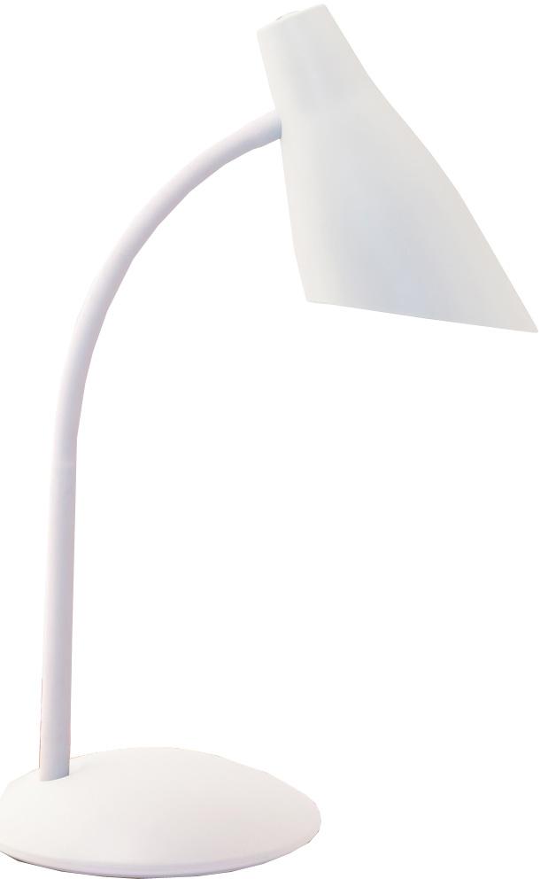Настольная лампа Школьник, цвет: белый. S-2304606400510505У любого школяра должно быть рабочее место для письма, чтения, рисования, игр на компьютере. Хорошо организованная зона помогает ему в учебе. Настольная лампа необходим как источник направленного света, так как рассеянных потоках ребенку трудно фокусировать взгляд на символах, считывать информацию. Мы предлагаем Вам новый настольный светильник «Школьник» в четырех цветовых решениях. Вся конструкция светильника выполнена из ABS-пластика и металла. Его размеры составляют: высота 39 см, диаметр основания 16 см. В светильнике используется лампа с цоколем Е14 («миньон») и мощность 40 Вт. Напряжение сети 220В, частота 50 Гц. ВНИМАНИЕ! При использовании ламп накаливания у светильника сильно нагревается плафон. Поэтому рекомендуем использовать компактные люминесцентные или светодиодные лампы.