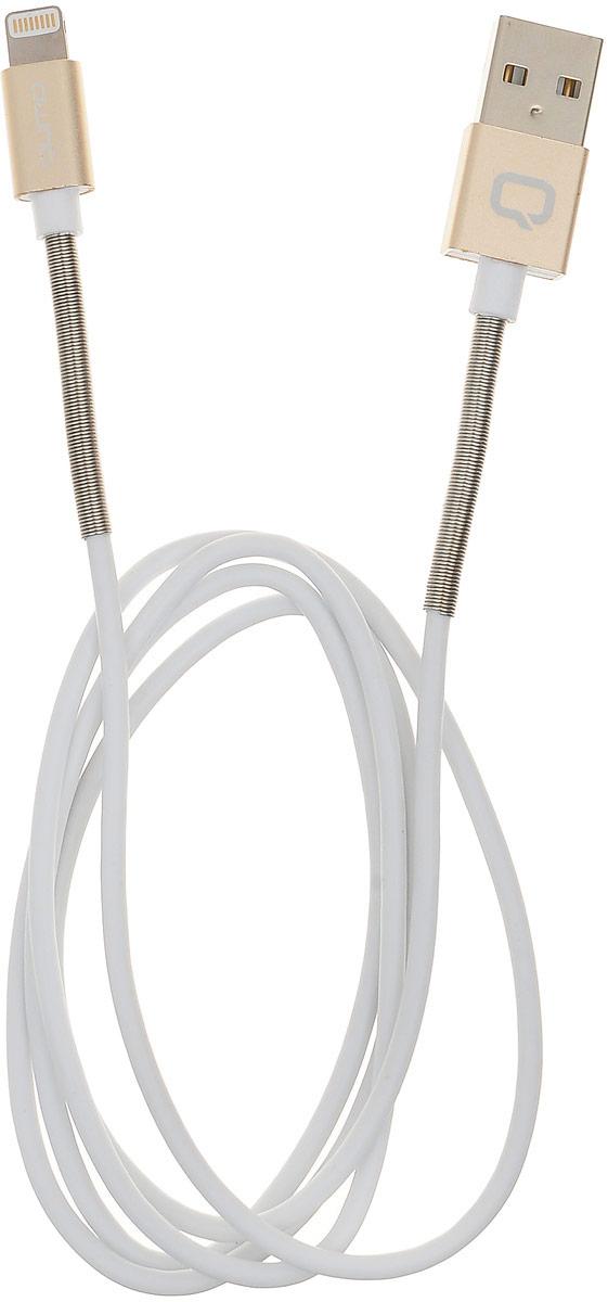 Qumo Lightning-USB MFI, Gold кабель (1 м)Cable Qumo MFI PVC+СoilL 1м goКабель Qumo Lightning-USB MFI позволяет быстро зарядить ваше устройство (iPhone, iPad, iPod) и обеспечивает надежную передачу данных. Кабель в полностью металлической оплетке и с пластиковым коннектором, является самым надежным их всех кабелей выпускаемых Qumo. Стальная пружинка не только защищает кабель от излома и повреждений, но и поможет спасти его от зубов мелких домашних животных.