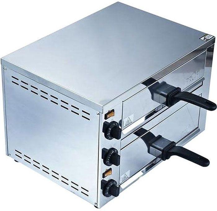 GASTRORAG EPZ-03 мини-печьEPZ-03Печь для пиццы GASTRORAG EPZ-03 электрическая, 2 модуля с выдвижными решетками размером 360 х 335 мм и поддонами для крошек, независимый верхний и нижний нагрев, температура 60-300 °С, таймер 0-15 мин, нержавеющая сталь