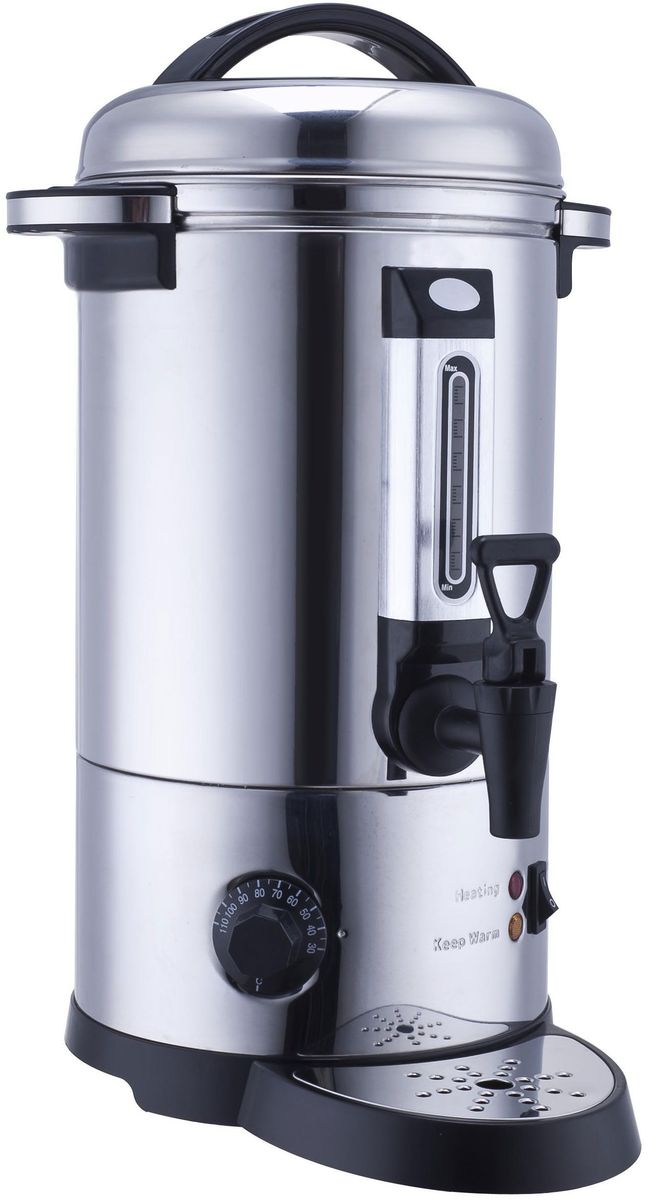 GASTRORAG DK-LX-100 кипятильникDK-LX-100Кипятильник GASTRORAG DK-LX-100 настольный, автономный (наливной), одинарные стенки, емкость резервуара 10 л, закрытый ТЭН, терморегулятор (30-110 °С), мерное стекло, разливной кран, материал корпуса - нержавеющая сталь.