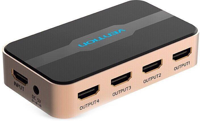 Vention HDMI 19F - 4x19F разветвительACCG0HDMI разветвитель предназначен для передачи цифрового аудио и видео HDMI сигнала от одного HDMI-источника (Компьютер, медиаплеер, DVD-проигрыватель, ноутбук и т.д.) одновременно на 4 устройства с входом HDMI (телевизор, плазменная панель, проектор, монитор и т.д.). Разветвитель также усиливает передачу сигнал до 25 метров, что позволяет использовать кабель большей длины. До 15 м. от источника до разветвителя и до 10 м. от разветвителя до дисплея.Продукция соответствует следующим сертификатам: RoHS, CE, FCC, TIA, ISOТип разъема: вход: HDMI 19F / DC-jack F > выход: 4 x HDMI 19FПоддержка: HDMI v1.3/1.4 - 2k * 4k - Full HD 1080p - HDTV+ 3D Контакты: 24К позолоченныеМатериал корпуса: алюминиевый корпус + АБС-пластикМатериал проводника: чистая бескислородная медьЦвет: золотойКомплектация: HDMI сплиттер