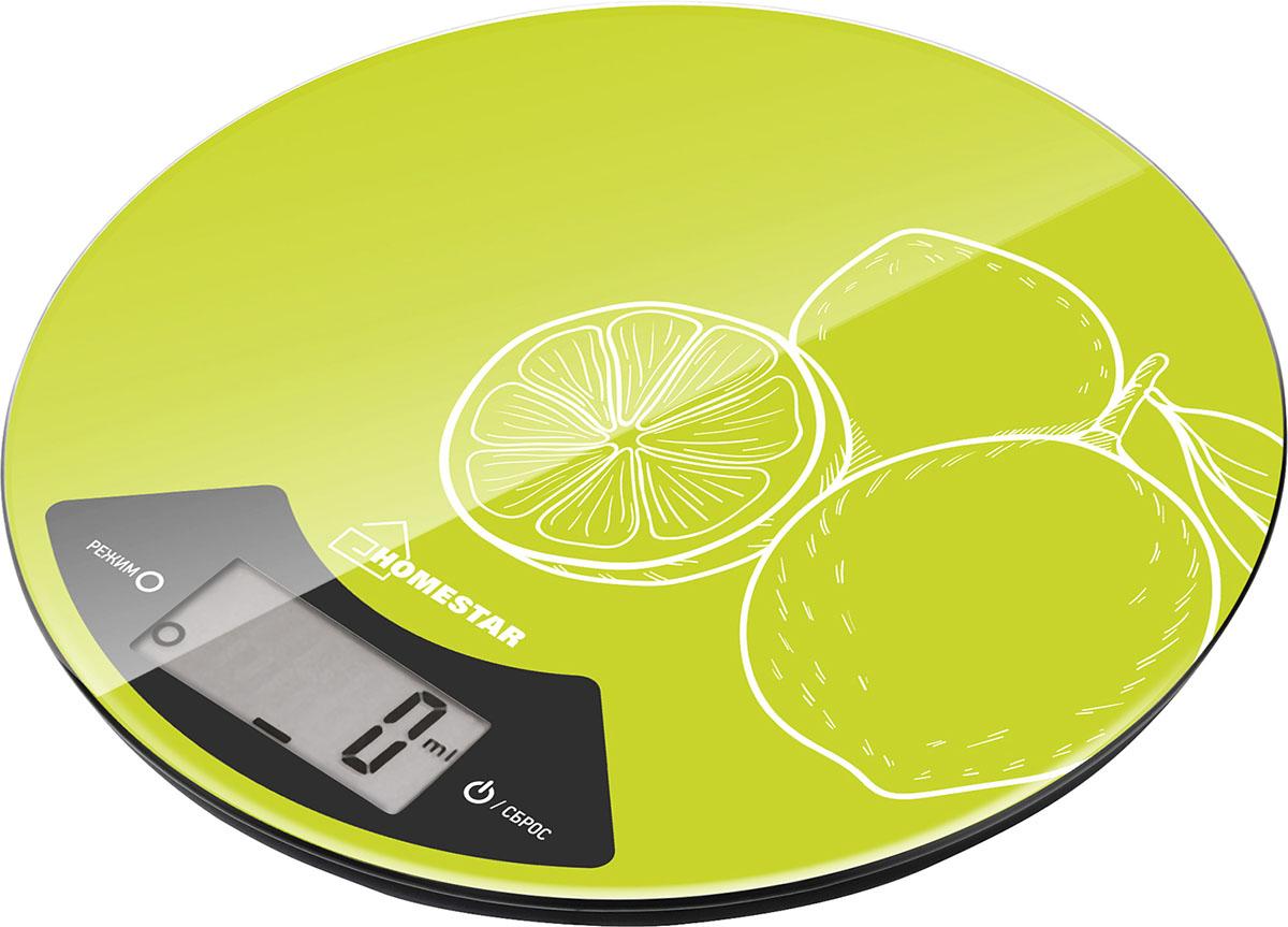 HomeStar HS-3007 Lime кухонные весы54 003004Максимальная нагрузка: 7 кгСтеклянная поверхностьДиаметр 20 смЦена деления: 1 гСенсорное управлениеЕдиницы измерения: грамм, килограмм, унция, фунтыФункция тарыИндикатор заряда батарейкиАвтоматическое отключениеРабота от батарейки 1*2032CR (входит в комплект)Состав (материал): стекло, пластик, металл