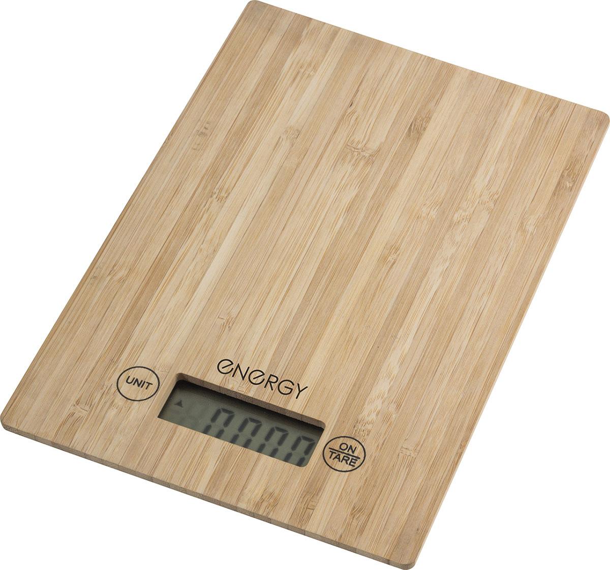 Energy EN-426 кухонные весы54 003039Сенсорное управлениеРабочая поверхность из бамбукаРазмеры весов: 23*16*1.8 смLCD дисплей (черный цифры), размер: 5,9*2 смМаксимальная нагрузка: 5 кгЦена деления: 1 гВыбор единиц измерения: грамм/фунт/ унция/кгАвтоотключениеИндикатор перегрузки и заряда батарейкиФункция ТараПитание от батареек: 2*ААА (входят в комплект)