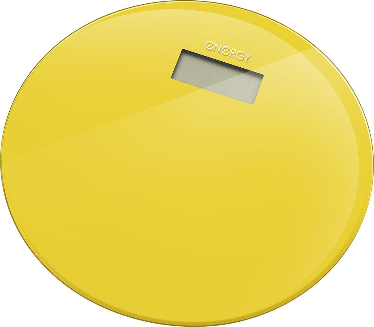 Energy EN-420 RIO, Yellow напольные весы54 003494Стеклянная поверхностьДиагональ: 33 смМаксимальная нагрузка: 180 кгЦена деления: 100 граммСтеклянная платформа: 6 ммLCD дисплей, размер: 73*28 ммАвтоотключениеИндикатор перегрузки и заряда батареиПитание от батареи: 1*CR2032 (входит в комплект)
