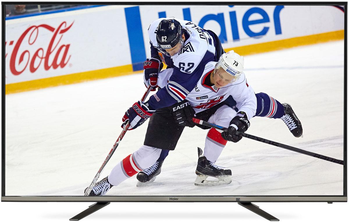 Haier LE50K5500TF телевизор1211100Телевизор Haier LE50K5500TF станет центром притяжения всей семьи – высокое разрешение (Full HD), экран с диагональю 127 см (50) и цифровой тюнер DVB-T2/ DVB-T / DVB-C MPEG4 гарантируют цифровое качество изображения и удовольствие от просмотра.Откройте для себя новые возможности с технологией Smart TV и встроенным Wi-Fi: используйте телевизор для поиска в сети, смотрите фильмы, играйте, заходите в социальные сети, слушайте музыку и скачивайте приложения.Характерная особенность телевизора - изящный дизайн. Благодаря тонкому корпусу он легко впишется в интерьер, а 42-дюймовый экран делает его подходящим вариантом для гостиной.Телевизор оснащён цифровым тюнером, позволяющим наслаждаться передачами эфирного ТВ в цифровом качестве. Достаточно нажать одну кнопку, чтобы поставить передачу на паузу. При этом просматриваемая передача будет записываться на флешку или внешний жёсткий диск, чтобы владелец мог вернуться к просмотру тогда, когда это будет удобно. Эта функция особенно полезна в тех случаях, когда к владельцу телевизора пришли гости или ему звонят по телефону.Разъёмы USB и HDMI позволяют подключить к телевизору DVD-плеер или камеру, флешку или жёсткий диск, ноутбук и другие устройства. Владелец может смотреть на большом экране мультимедийный контент, записанный на этих устройствах.Данная модель имеет современные сетевые функции, такие как модуль Wi-Fi, DLNA, LAN и веб-браузер.