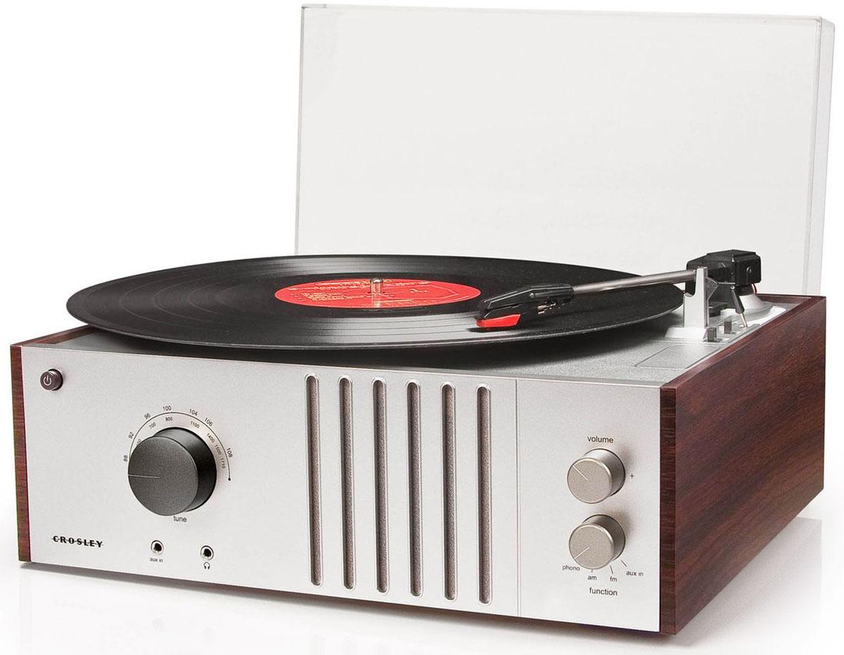 Crosley Player FM-AM, Mahogany виниловый проигрывательCRL6017A-MAВстроенные стереодинамики 3 скорости воспроизведения пластинок: 33 1/3, 45, 78 об/минРучное управление тонармомПрозрачная съемная крышка от пылиAM/FM РадиоPlug In для портативных аудио девайсов или MP3-плеераЦвет - махагонРазмеры (ШхВхГ): 420х370х420 мм