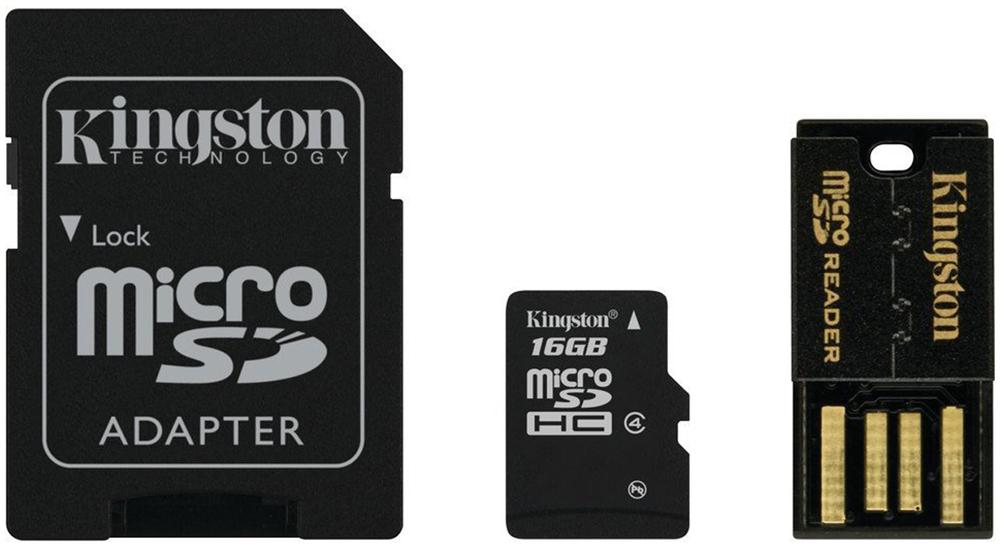 Kingston Mobility Kit MBLY4G2 карта памяти microSDHC 16GB + адаптер + USB-ридерMBLY4G2/16GBКарта памяти Kingston Mobility Kit MBLY4G2 емкостью 16 ГБ предоставляет больше пространства для хранения музыки, видео, фотографий и игр - всего того, что необходимо вам в современном мобильном мире. Карта памяти microSDHC позволяет максимально расширить возможности самых современных мобильных устройств. Kingston Mobility Kit MBLY4G2 соответствует рейтингам классов производительности, которые обеспечивают поддержку заданных минимальных скоростей передачи данных для достижения оптимальной производительности устройств.Карта памяти Kingston Mobility Kit MBLY4G2 идентична по размерам со стандартными картами microSD, соответствует техническим характеристикам карт SD и распознается только устройствами microSDHC. Ее можно использовать в качестве полноразмерных карт SDHC с помощью специального адаптера. Где бы вы ни оказались в мобильном мире, вы можете положиться на карту памяти Kingston Mobility Kit MBLY4G2. Все карты проходят 100-процентное тестирование и имеют пожизненную гарантию.Соответствие требованиям - соответствуют техническим характеристикам, установленным ассоциацией SD Card AssociationУниверсальность - совместное с адаптером могут использоваться в качестве полноразмерных картСовместимость - с хост-устройствами microSDHCУстойчивость - водонепроницаемость, ударостойкостьЗащита от рентгеновского излучения и от экстремальных температур для работы в жестких условиях