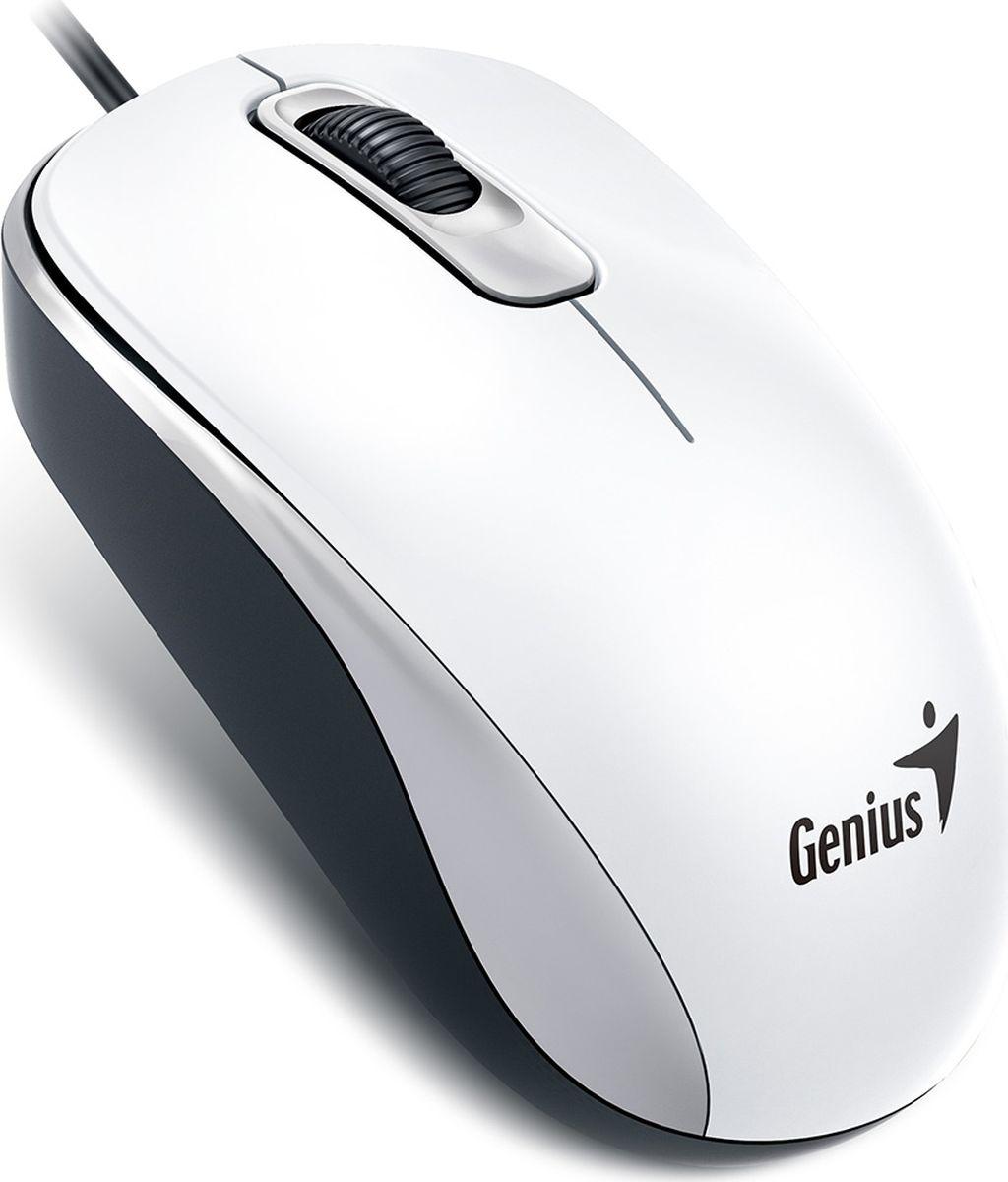 Genius DX-110, White мышь31010116105Гладкая, удобная и приятная на ощупь. Подходит как для правой, так и для левой руки. Совместима с Windows и MacOS.