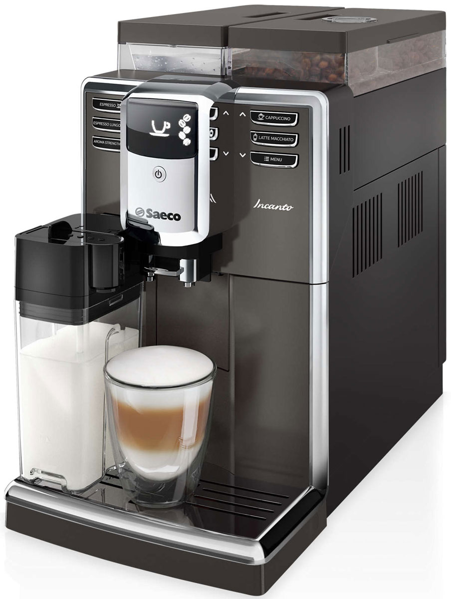 Philips Saeco HD8919/59, Black кофемашинаHD8919/59Кофемашина Philips Saeco HD8919/59 задает новые стандарты в своем классе. Компактный корпус вмещает в себя дополнительные возможности благодаря современным итальянским технологиям высшего качества, разработанным для приготовления божественного кофе.Керамический материал устойчив к износу, обеспечивает долгий срок службы и бесшумную работу. Это значит, что качество помола кофе будет оставаться неизменно превосходным при приготовлении более чем 15 000 чашек кофе, в которых сохранится весь аромат кофейных зерен.Готовьте множество напитков для любых случаев: бодрящий эспрессо, классический кофе или кофейный напиток на основе молока — с помощью автоматической кофемашины вы быстро и без лишних усилий сварите идеальный кофе!Фильтр для воды AquaClean улучшает качество кофе, очищая воду. Также он предотвращает скопление известкового налета в контуре подачи воды: регулярно меняйте фильтр, чтобы готовить до 5000 чашек кофе без очистки кофемашины от накипи.Эта кофемашина оснащена технологией автоматической очистки контура водой перед включением и выключением, поэтому кофе всегда будет вкусным и ароматным. Регулярная очистка от накипи продлевает срок службы прибора. Кофемашина не только сообщает о необходимости проведения очистки от накипи — на дисплее отображаются пошаговые инструкции, помогающие ее выполнить.Данная модель имеет набор полезных функций, которые помогут приготовить вкусный кофе так, как нравится именно вам. Выбирайте и сохраняйте в памяти крепость, объем и температуру для каждого вида напитка. Попробуйте свои силы: экспериментируйте и изобретайте новые сочетания!Каждый напиток будет украшен нежной молочной пеной, которая идеально дополнит вкус кофе. Молочный кувшин дважды взбивает молоко и подает нежную пену прямо в чашку без разбрызгивания и при оптимальной температуре. Кувшин обеспечивает гигиеничность, и его можно хранить в холодильнике.Забудьте о едва теплом кофе. Бойлер кофемашины быстро нагревается, поэтому 