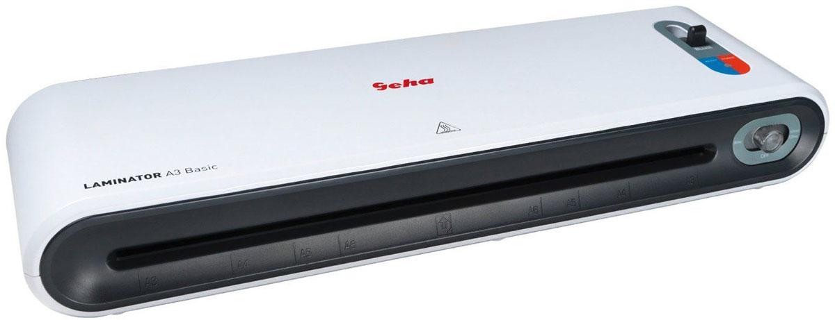 Geha A3 Basic ламинатор86096046Современный ламинатор Geha A3 Basic предназначен для небольшого объема работ по ламинированию дома или в офисе.Устройство обладает всеми требуемыми техническими показателями для качественной обработки небольшого объема документов.Прибор обеспечивает надежную и долгосрочную защиту документов, грамот от воздействия внешних факторов, таких как влага и пыль.Скорость ламинирования: 300 мм/минДопустимая толщина применяемых пленок: 80 - 125 мкмВремя нагрева: 5 минутКоличество валов: 2