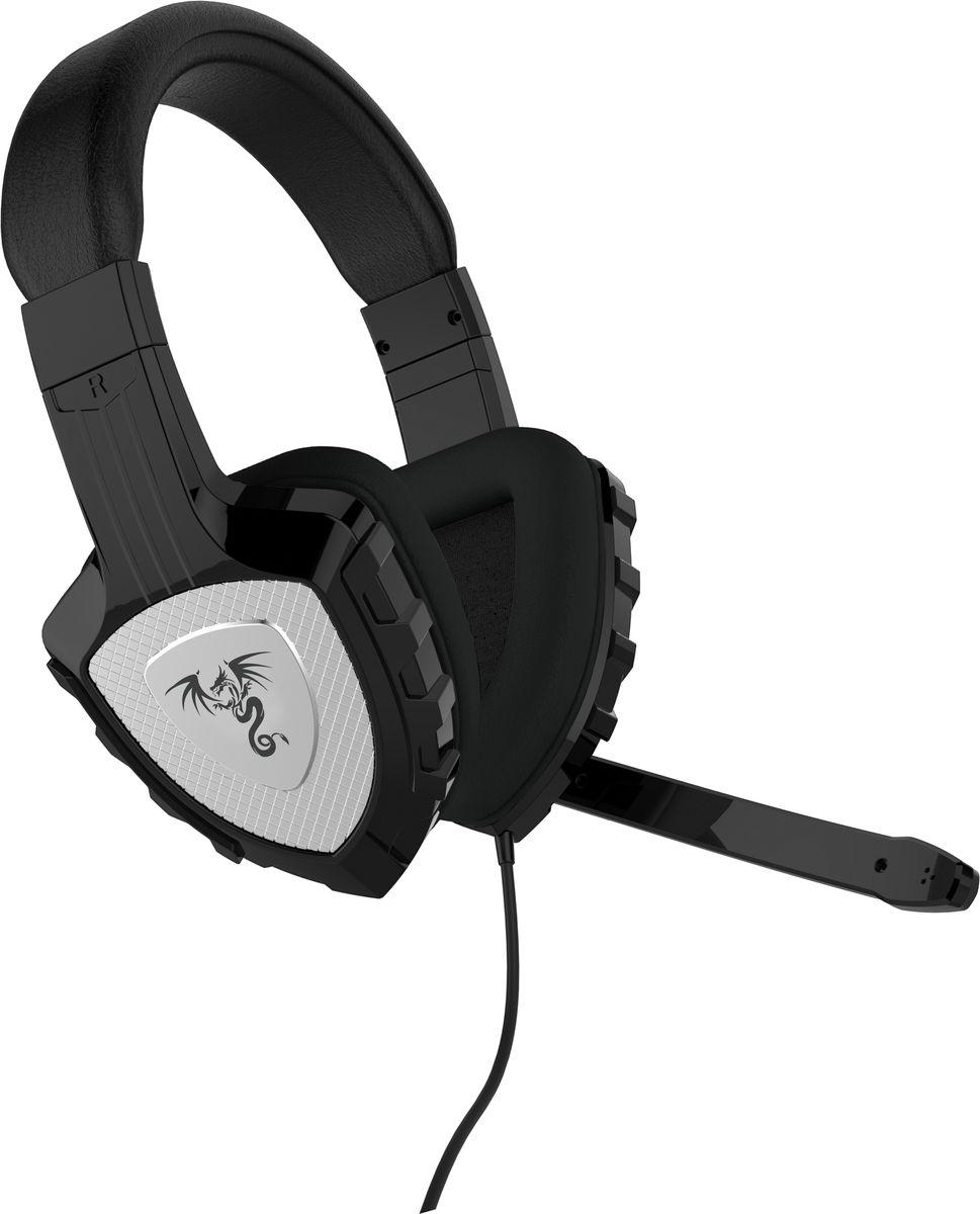 Qumo Сhampion, Black игровые наушники21699Стилизация под рыцарские доспехи намекает на игровое происхождение данной гарнитуры, что в купе с качеством звука выводит на отличную пользовательскую оценку данного продукта. Выкидной микрофон оснащен регулировкой громкости и при желании может быть убран чтобы не мешать просто наслаждаться музыкой.
