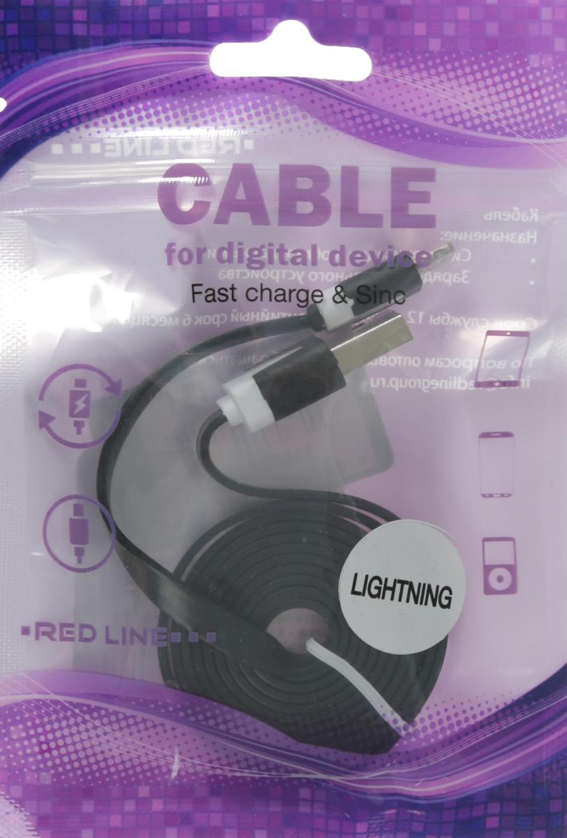 Red Line, Black кабель Lightning-USB (1 м)УТ000010100Кабель Red Line позволяет подключить ваш iPhone, iPad или iPod с разъёмом Lightning к порту USB на компьютере для синхронизации и зарядки. Кроме того, его можно подключить к адаптеру питания USB, чтобы зарядить устройство от розетки.