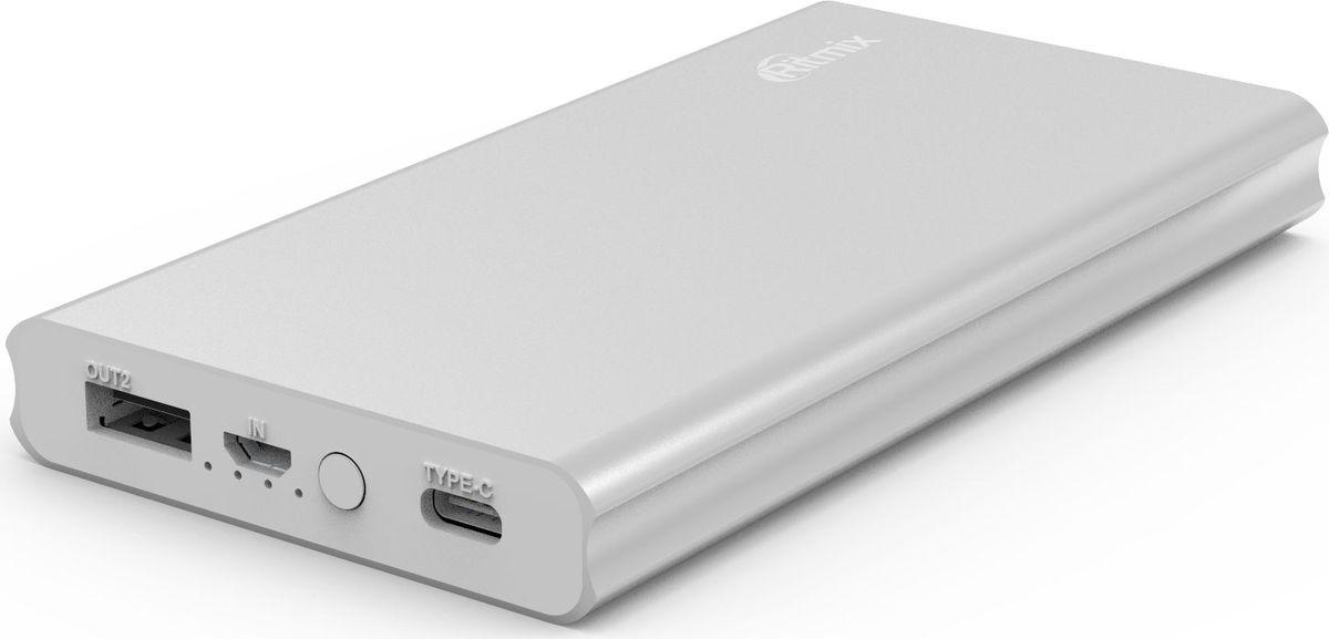 Ritmix RPB-10977PQC, Silver внешний аккумулятор (10000 мАч)15119179Power bank Quick Charge 3.0/Type C; Li-Polymer узкий, емкость 10000мАч, вход 5V 2A / Type C, выход USB 5V 3A/9V 2A/12V 1,5A (USB+Type C), алюминиевый корпус, размер 130*70*15, цвет: серебристый