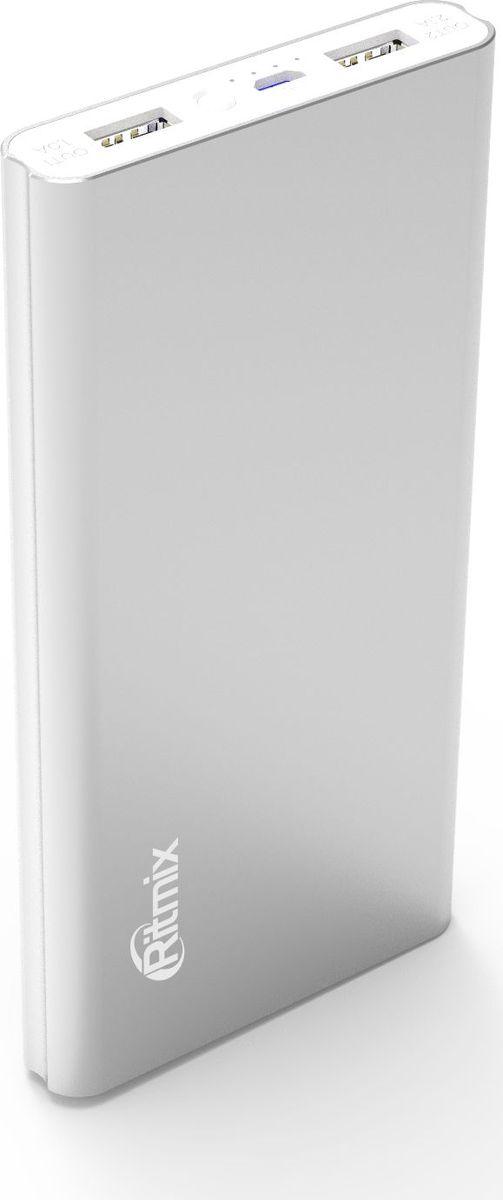 Ritmix RPB-12077P, Silver внешний аккумулятор (12000 мАч)15119181Power bank Li-Polymer узкий, емкость 12000 мАч, вход 5V 2A, выход 2*USB 5V 2A, алюминиевый корпус, размер:150*74*16, цвет: серебристый